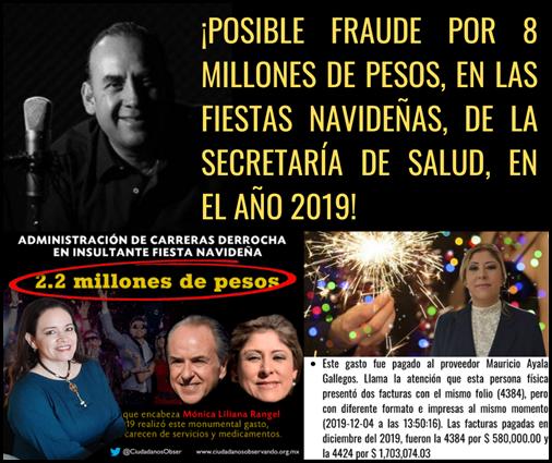 ¡POSIBLE FRAUDE POR 8 MILLONES DE PESOS, EN FIESTAS NAVIDEÑAS, DE LA SECRETARÍA DE SALUD, EN EL AÑO 2019!
