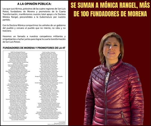 SE SUMAN A MÓNICA RANGEL, MÁS DE 100 FUNDADORES DE MORENA