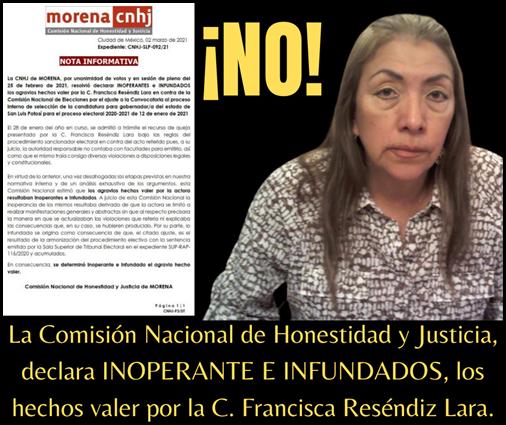 La Comisión Nacional de Honestidad y Justicia, declara IMPROCEDENTE E INFUNDADA