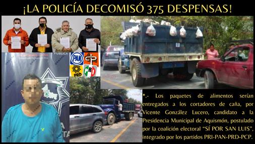 ¡LA POLICÍA DECOMISÓ 375 DESPENSAS!