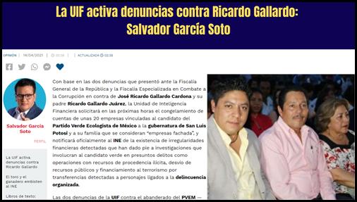 La UIF activa denuncias contra Ricardo Gallardo: Salvador García Soto