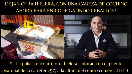 ¡DEJAN OTRA HIELERA, CON UNA CABEZA DE COCHINO, AHORA PARA ENRIQUE GALINDO CEBALLOS!