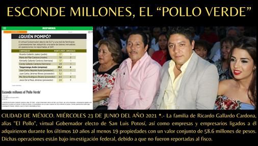 """ESCONDE MILLONES, EL """"POLLO VERDE"""""""