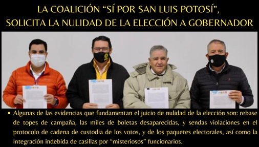 """LA COALICIÓN """"SÍ POR SAN LUIS POTOSÍ"""", SOLICITA LA NULIDAD DE LA ELECCIÓN A GOBERNADOR"""