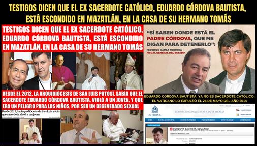 EDUARDO CÓRDOVA BAUTISTA, YA NO ES SACERDOTE CATÓLICO: EL VATICANO LO EXPULSÓ EL 26 DE MAYO DEL AÑO 2014